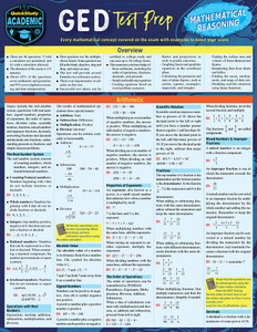 Quick Study QuickStudy GED Test Prep: Mathematical Reasoning Laminated Study Guide BarCharts Publishing Education Reference Cover Image