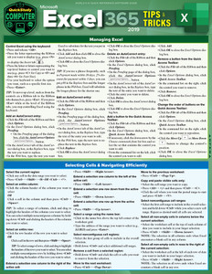QuickStudy | Microsoft Excel 365: Tips & Tricks 2019 Laminated Reference Guide