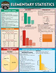 Quick Study QuickStudy Elementary Statistics Laminated Study Guide BarCharts Publishing Mathematic Reference Cover Image