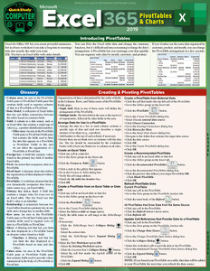 QuickStudy | Excel 365 Pivot Tables & Charts Laminated Reference Guide