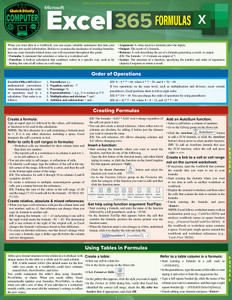 QuickStudy | Excel 365: Formulas Laminated Reference Guide