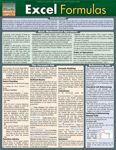 QuickStudy Quick Study Excel Formulas Laminated Reference Guide BarCharts Publishing Computer Guide Cover Image