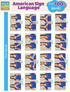 Quick Study QuickStudy American Sign Language: First 100+ Words Laminated Guide BarCharts Publishing Cover Image