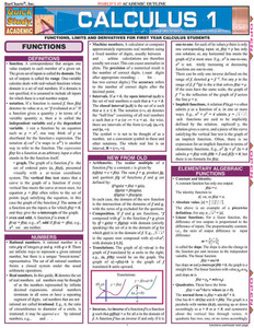 Quick Study QuickStudy Calculus 1 Laminated Study Guide BarCharts Publishing Calculus 1 Reference Cover Image