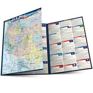 Quick Study QuickStudy U.S. Map: States & Cities Laminated Reference Guide BarCharts Publishing Education Outline Main Image