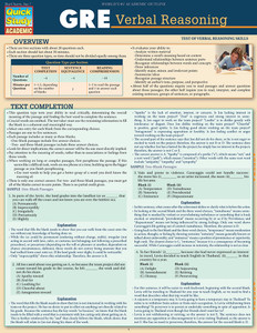 Quick Study QuickStudy GRE: Verbal Reasoning Laminated Study Guide BarCharts Publishing Inc Guide Cover Image