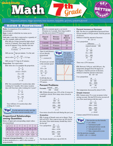 Quick Study QuickStudy Math: 7th Grade Laminated Study Guide BarCharts Publishing Education Reference Guide Cover Image
