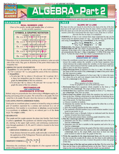 Quick Study QuickStudy Algebraic Part 2 Laminated Study Guide BarCharts Publishing Algebra Pt2 Guide Cover Image