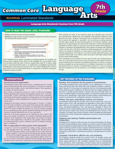 QuickStudy Common Core: Language Arts 7th Grade Laminated Study Guide