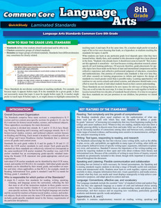 QuickStudy Common Core: Language Arts 8th Grade Laminated Study Guide