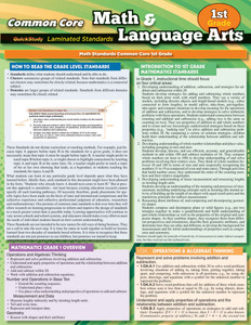 QuickStudy | Common Core: Math & Language Arts - 1st Grade Laminated Study Guide