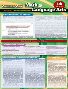 QuickStudy | Common Core: Math & Language Arts - 5th Grade Laminated Study Guide