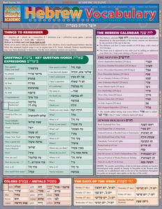 Quick Study QuickStudy Hebrew Vocabulary Laminated Study Guide BarCharts Publishing Foreign Language Cover Image
