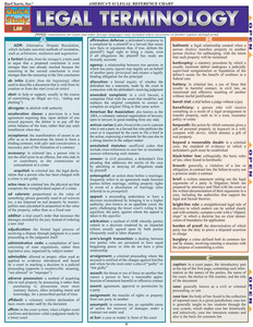 QuickStudy Quick Study Legal Terminology Laminated Study Guide BarCharts Publishing Reference Guide Cover Image