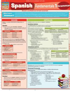 QuickStudy | Spanish Fundamentals 1 Laminated Study Guide
