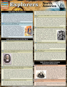 Quick Study QuickStudy Explorers Of North America Laminated Study Guide BarCharts Publishing American History Reference Cover Image