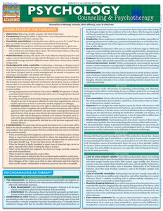 QuickStudy Quick Study Psychology Counseling Psychotherapy Laminated Study Guide BarCharts Reference Cover Image