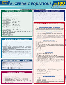 Quick Study QuickStudy Algebraic Equations Quizzer Laminated Study Guide BarCharts Publishing Reference Cover Image