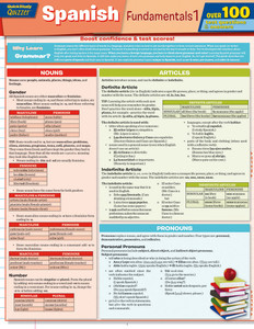 QuickStudy | Spanish Fundamentals 1 Quizzer Laminated Study Guide