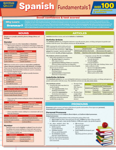 Quick Study QuickStudy Spanish Fundamentals 1 Quizzer Laminated Study Guide BarCharts Publishing Foreign Language Education Reference Guide Cover Image