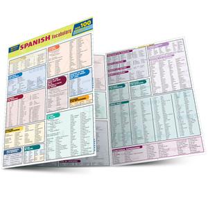QuickStudy   Spanish Vocabulary Quizzer Laminated Study Guide