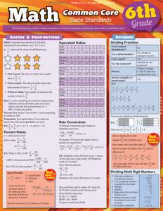 QuickStudy   Math: Common Core 6th Grade Laminated Study Guide