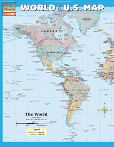 QuickStudy Quick Study World & U.S. Map Laminated Reference Guide  BarCharts Academic Front Image