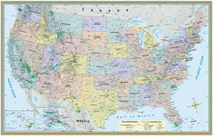 QuickStudy United States Map Paper Poster