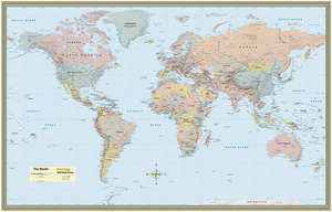 QuickStudy World Map Laminated Poster
