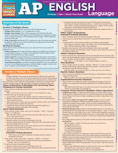 Quick Study QuickStudy AP English Language Laminated Study Guide BarCharts Publishing Inc Reference Guide Cover Image