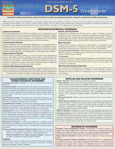 Quick Study QuickStudy Psychology DSM-5 Overview Laminated Study Guide BarCharts Publishing Reference Cover Image