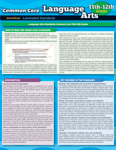 QuickStudy Common Core: Language Arts 11th & 12th Grade Laminated Study Guide