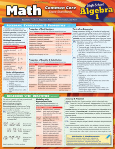 QuickStudy | Math: Common Core Algebra 1 - 9Th Grade Laminated Study Guide