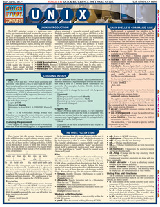 Quick Study QuickStudy Unix Laminated Reference Guide BarCharts Publishing Computer Productivity Outline Cover Image