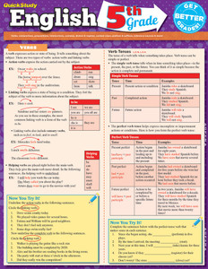 Quick Study QuickStudy English: 5th Grade Laminated Study Guide BarCharts Publishing Education Reference Guide Cover Image