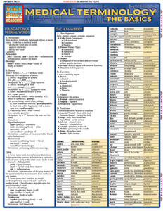 Quick Study QuickStudy Medical Terminology The Basics Laminated Study Guide BarCharts Publishing Front Image