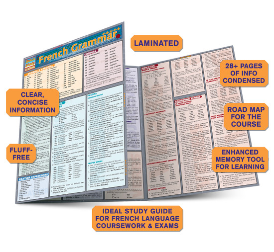 Quick Study QuickStudy French Grammar Laminated Study Guide BarCharts Publishing Inc Academic French Guide Benefits