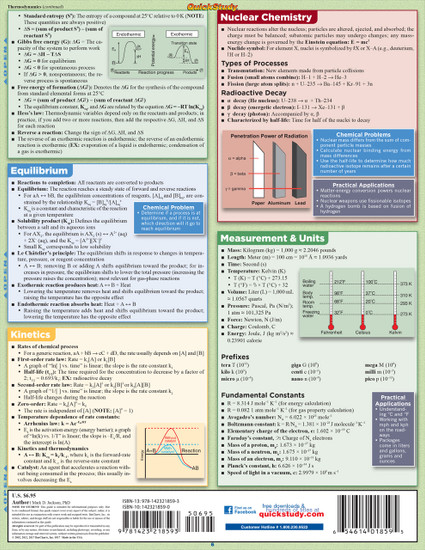 Quick Study QuickStudy Chemistry Laminated Study Guide BarCharts Publishing Chemistry Academic Guide Back Page Image