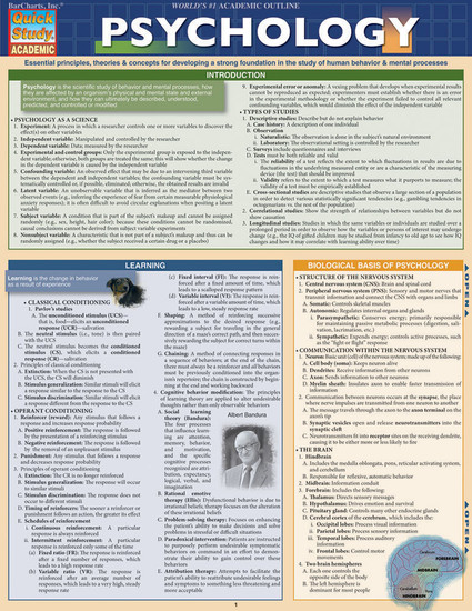 QuickStudy Quick Study Psychology Laminated Study Guide BarCharts Publishing Social Sciences Studies Cover Image