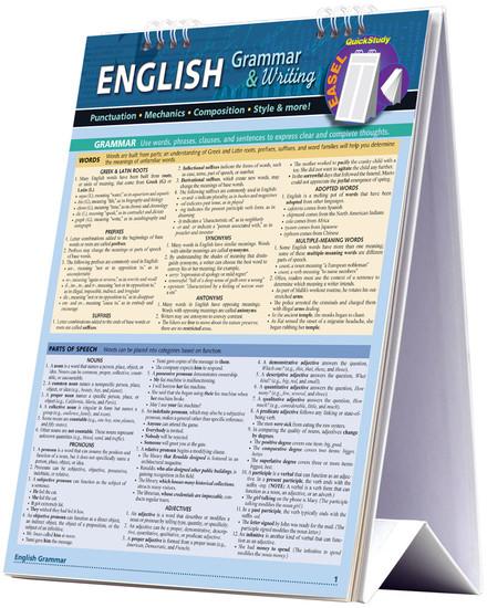 QuickStudy | English Grammar & Writing Easel