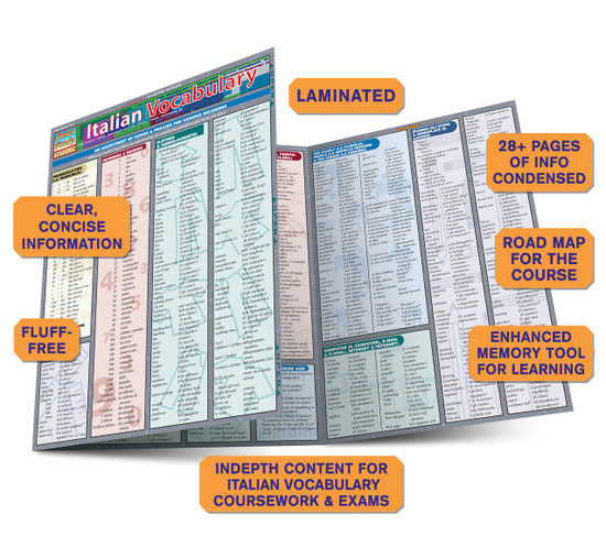 Quick Study QuickStudy Italian Vocabulary Laminated Study Guide BarCharts Publishing Italian Vocab Guide Benefits
