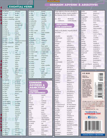 QuickStudy   Spanish Vocabulary Laminated Study Guide