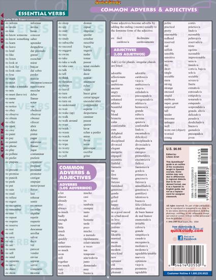 Quick Study QuickStudy Spanish Vocabulary Laminated Study Guide BarCharts Publishing Foreign Language Reference Back Image