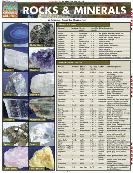 Quick Study QuickStudyRocks & Minerals Laminated Study Guide BarCharts Publishing Science Reference Guide Cover Image