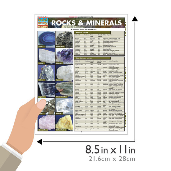 Quick Study QuickStudyRocks & Minerals Laminated Study Guide BarCharts Publishing Science Reference Guide Size
