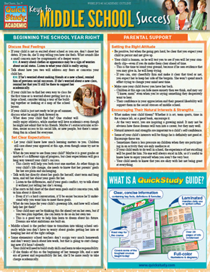 QuickStudy | Keys To Middle School Success Digital Reference Guide