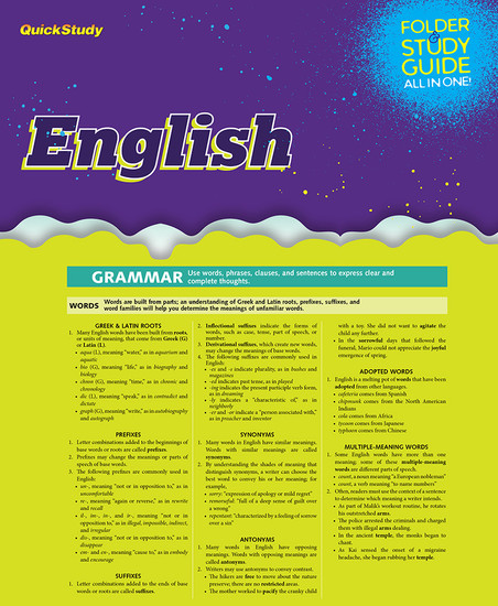 QuickStudy   English Study Folder