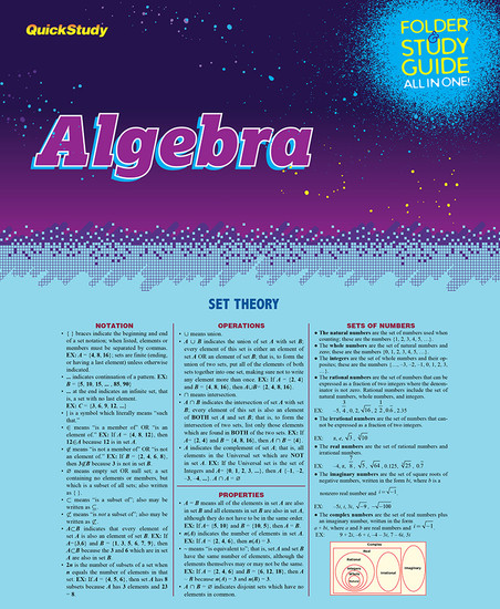 QuickStudy | Algebra Study Folder