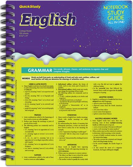 QuickStudy   English Spiral Notebook