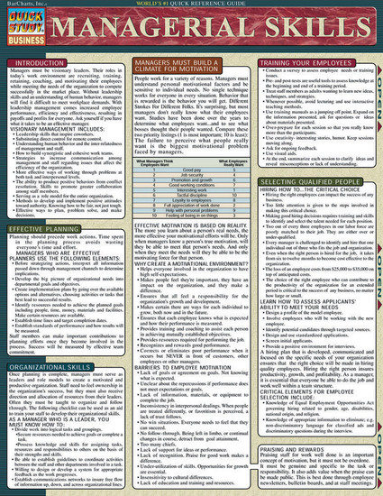 QuickStudy | Managerial Skills Laminated Reference Guide